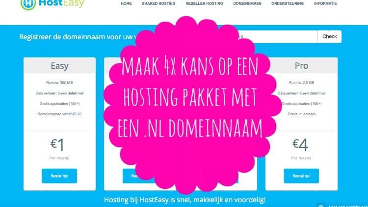 WINACTIE: HOSTEASY 4 X HOSTING PAKKET MET EEN .NL DOMEINNAAM