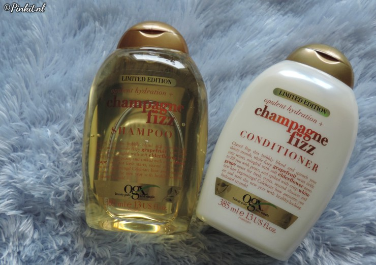 OGX CHAMPAGNE FIZZ SHAMPOO & CONDITIONER + OGX & SLEEK MAKEUP WINACTIE