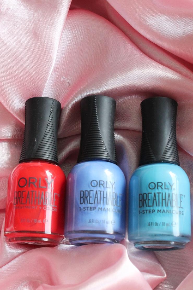 Eind vorig jaar heb ik voor het eerst geschreven over diverse kleuren uit de Orly Breathable 1-Step Manicure lijn en in dit artikel deel ik weer 3 swatches. Ik heb namelijk de volgende kleuren ontvangen: Cherry Bomb, You Had Me At Hydrangea & Downpour Whatever.